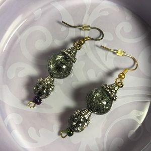 NWOT Black Glass and Beaded Hook Earrings